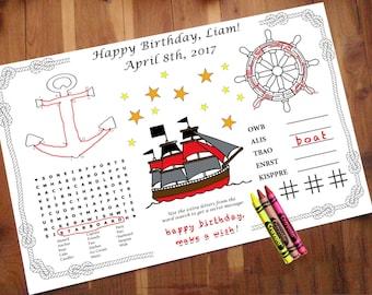 Nautical Birthday Activity PDF. Custom Name & Date. Kids, Maze, Color, Games. Pirate, Sailing
