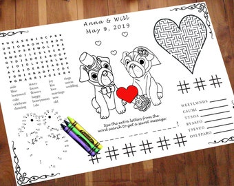 Dog Wedding Activity PDF.  Your Names & Date. You choose Genders. Coloring, Maze, Dot to Dot