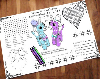 Printable Placemat PDF. Your Names and Date. You Choose Genders, Print Size. Giraffe Wedding Activity PDF.