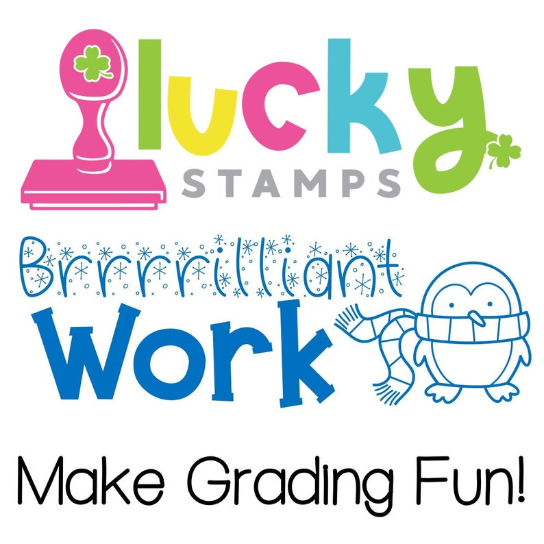 Brrrrilliant Work Penguin Pre-Inked Teacher Stamp image 0