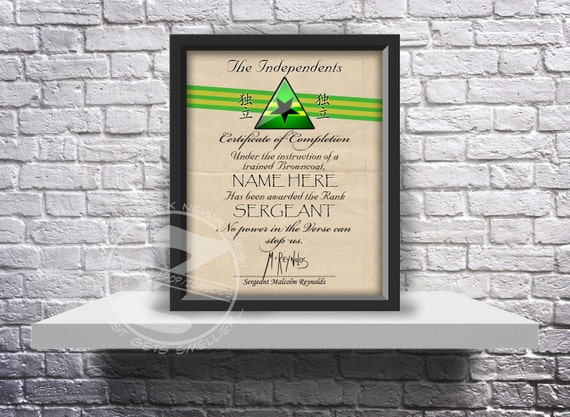 Firefly Serenity Independents custom certificate print or poster - Choose recipient and details, and Size