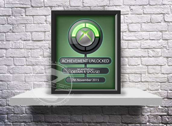 CUSTOM Xbox Achievement unlocked print Choose Inserts, and Size