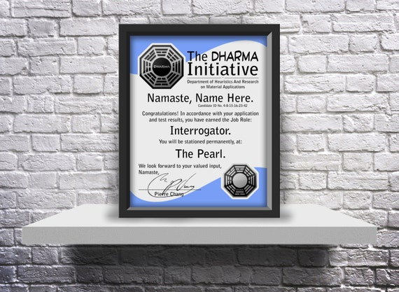 Lost TV Show Dharma Initiative acceptance letter Custom - Choose Size, and Details