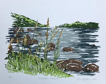 Loch Lomond Scotland, Scotland, Scottish Highlands, Highlands, United Kingdom, Scotland Landscape, Scotland Lake, Scotland Loch, Silkscreen