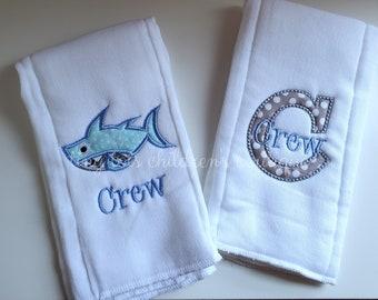 Sharks...Reversible Terrycloth Burp Cloth