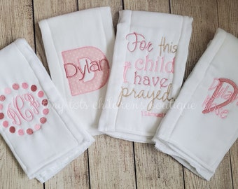 Pink and Brown Set of Three Bible Verse Burp Cloths