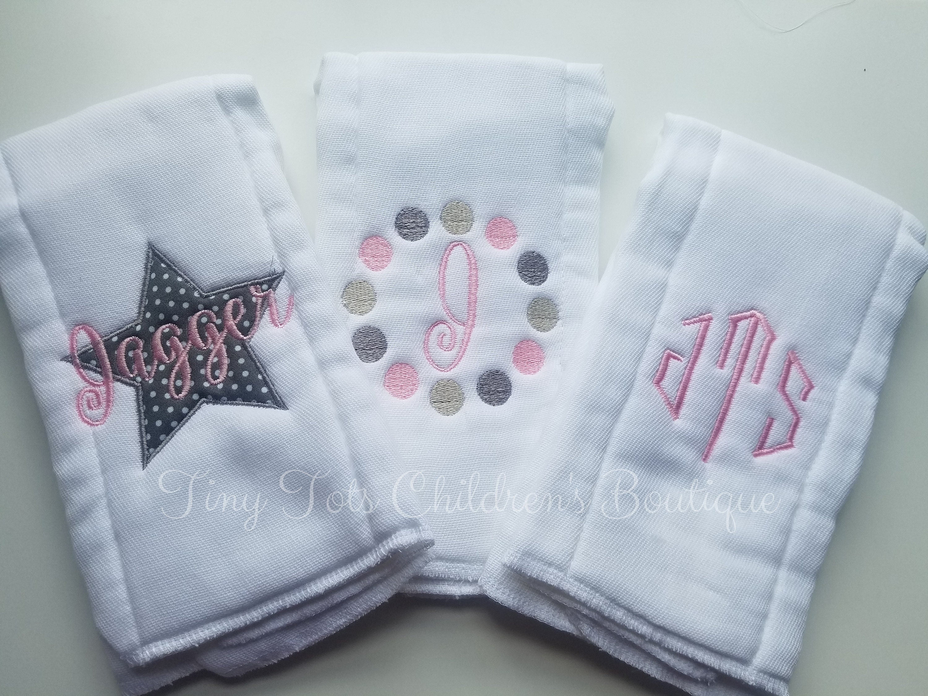 Personalized baby embroidered burp cloths set of 6 girl