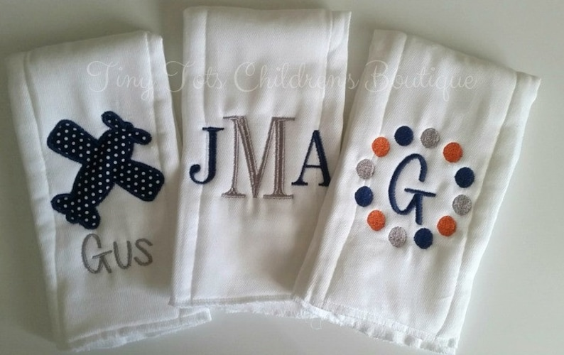 Personalized baby embroidered burp cloths set of 3-boy
