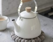 Enamel Tea Pot Kettle Stove Ceramic Old English Style Wooden Handle Camping Outdoor