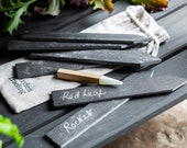 Slate Herb Tags with Soapstone Pencil - Herb Planter Plant Tag Markers Grey Natural Slate Garden Dad Mum Gardening Christmas Xmas Gift