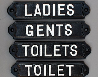 Toilet Display Cast Iron Antique Vintage Sign Badge Wall Public Toilet Room Logo