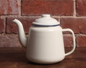 Enamel Tea Pot - Teapot Solid Made Traditional Vintage Retro English Country Cottage Kitchen Style Cream Ivory Blue Rim French Style QUALITY