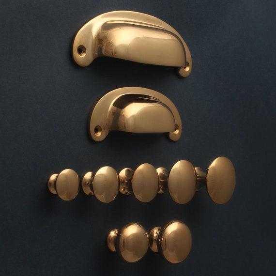 Gepolijst Bronzen Kast Handgrepen Knoppen Solide Gegoten Behandelt Rose Goud Stijl Keuken Kast Lade Shaker Minimale Cup Trekt Kwaliteit