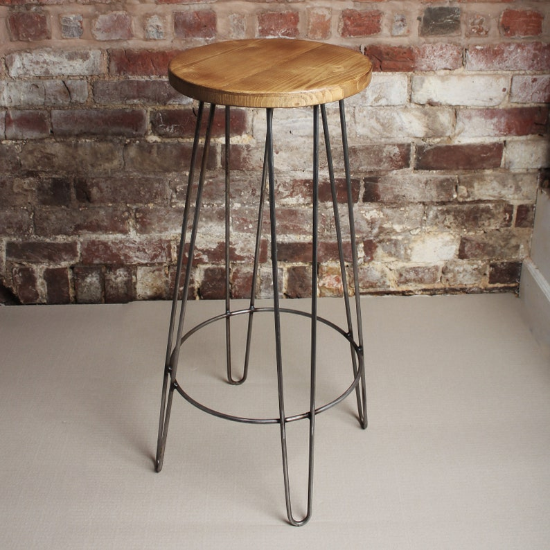 658cac12a62 Industrial Hairpin Leg Bar Stools 1940s Vintage Retro Old