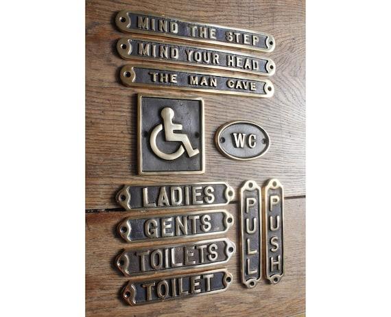 Messing naambordje toilet toiletten dames heren etsy