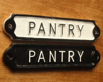 Antique Pantry Signs Shabby Chic White Railway Cast Iron Style Embossed Cast Metal Signs ~ BRITISH MADE ~