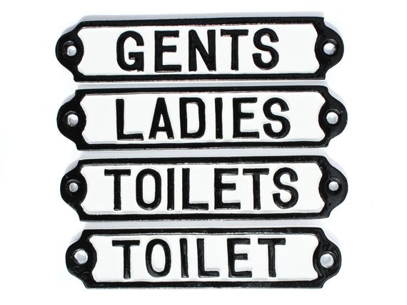 Vintage Toilet Door Signs Cast Metal Toilets Ladies Etsy