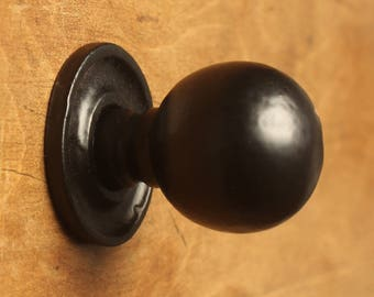 Black Rustic Cast Iron Cabinet Knobs Antique Style ~ Drawer Cupboard Door Pull Handles Kitchen Vintage Style - 30mm Round - Fullbrook