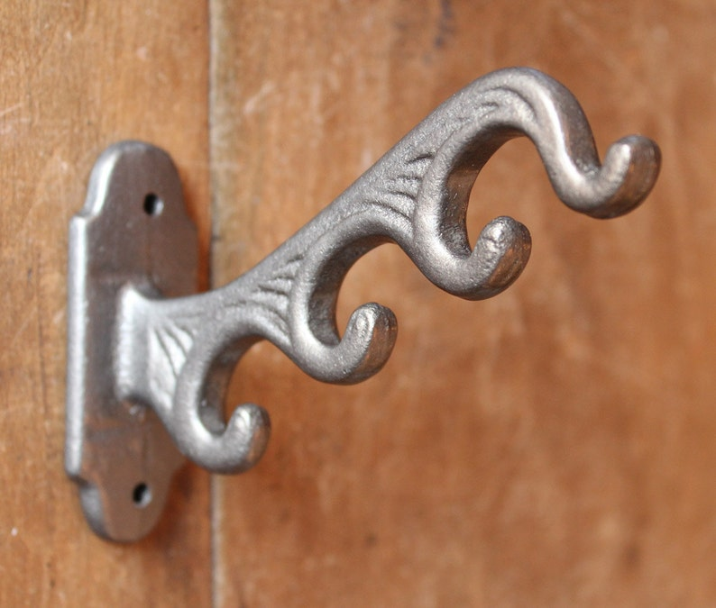 CH18 x5 5 x  4 in 1 CAST IRON HAT /& COAT HOOKS VICTORIAN OLD ANTIQUE VINTAGE