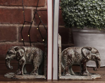 Pair of Iron Elephant Bookends | Rustic heavy duty book ends elephant jungle bohemian traditional vintage antique style door stop ornament