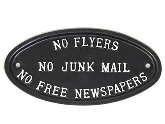 no flyers no junk mail no free newspapers sign stop etsy