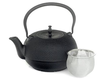 Cast Iron Japanese Tea Pot Teapot / Kettle Small 1.5L Solid Made Traditional Oriental Decorative Style Black Christmas Gift - CWE060