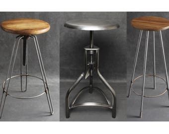 Industrial Metal & Wooden Bar Stools Seats Swivel Hairpin Legs Steel, Iron Kitchen Vintage Retro Factory Old Rusty Rustic Style Stools