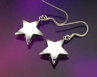 925 Solid Sterling Silver STAR Earrings-Star Dangle Earrings-Polished