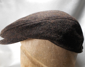 Brown Wool Driving Cap Newsboy Cap Man flat cap leather adjustable strap hat  with buckle dc5417b2fdcd