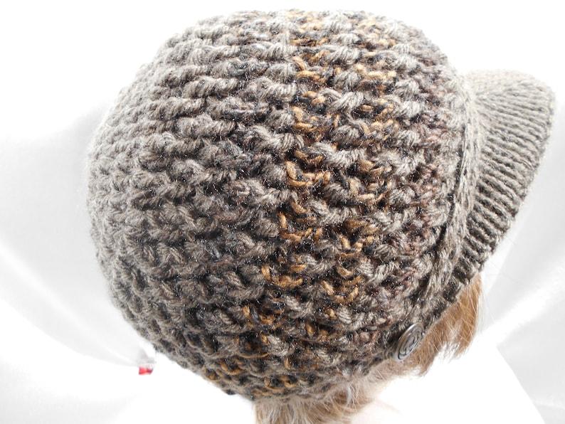 Brown Crochet Womens Knit Visor Hat Beanie Skull Cap Warm  fdc258850e3