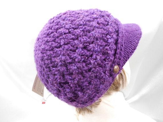Purple Crochet Womens Knit Visor Hat Beanie Skull Cap Warm  3830d3d9ab0