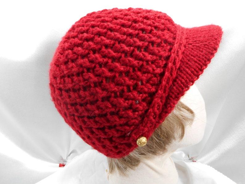 Red Crochet Womens Knit Visor Hat Beanie Skull Cap Warm  43af6d29f7d