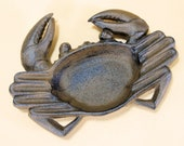 Cast Iron Crab Ashtray 9 quot wide Nautical decor for cigars and cigarettes soap dish