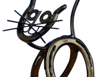 Horseshoe Kitty Genuine Western Decor Sculpture Art
