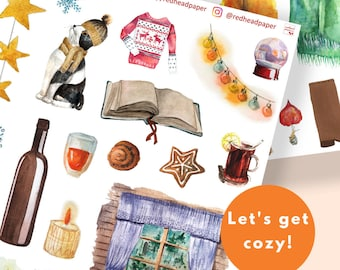 Hygge Bundle | Cozy Stickers | Bullet Journal Accessories | Winter Autumn Planner Spreads | Planner Stickers