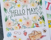 May decorative stickers for Bullet Journal or scrapbooking