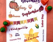 Autumn holiday stickers | Bullet Journal Accessories | Planner stickers