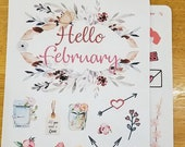 February decorative Bullet Journal accessories | Valentine's Stickers | Hello February | Letter-Writing | Hearts
