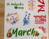 Spring holiday stickers for Bullet Journals, Erin Condren planners, Happy planners