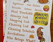 Thanksgiving Planning | Bullet Journal Accessories | Thanksgiving Dinner Stickers