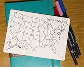 US States Visited Sticker | Bullet Journal Accessories | Trip Scrapbook | Travel Journal