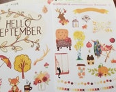 September decorative stickers for Bullet Journal or scrapbooking