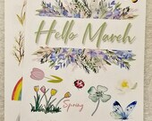 March decorative stickers for Bullet Journal or scrapbooking