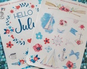 July decorative stickers for Bullet Journal or scrapbooking