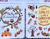 November decorative stickers | Bullet Journal Accessories | Gratitude Stickers | Autumn Love Planner Stickers
