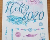 2020 New Year's decorative Bullet Journal accessories | Hello 2020 | Boho Flowers | Happy New Year