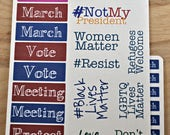 Activism Stickers | Meeting | March | Black Lives Matter | Refugees Welcome | LGBTQ | Feminist