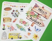 August decorative stickers for Bullet Journal or scrapbooking