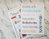 NaNoWriMo Pantser Bundle: Word Count Tracker + Graph + Calendar + NaNoWriMo Fun Stickers | Writer's Notebook | Bullet Journal Accessories