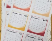2019 Mini-calendar Bullet Journal Stickers
